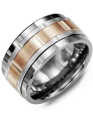 MJC MOD - Men's Wide Vertical Diamond Cut Wedding Band