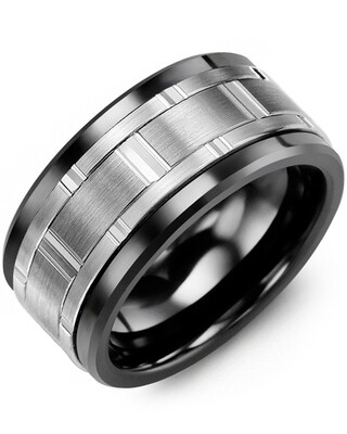 MJC SS - Men's Wide Vertical Diamond Cut Wedding Band