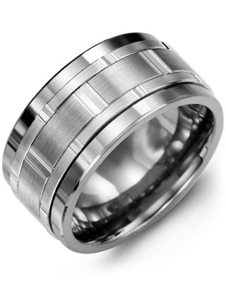 MJC GLD - Men's Wide Vertical Diamond Cut Wedding Band