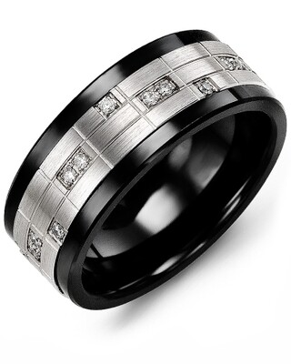 MKO MOD - Men's Puzzle Pattern Diamond Wedding Ring