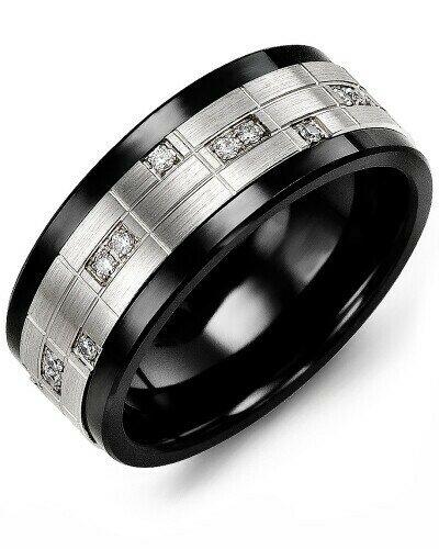 MKO MOD - Men's Puzzle Pattern Diamond Wedding Ring
