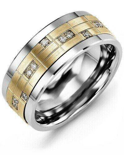 MKO GLD - Men's Puzzle Pattern Diamond Wedding Ring