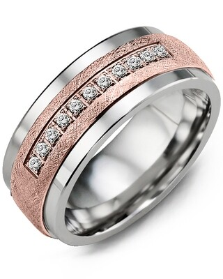 MKF - GLD Men's Brushed Diamond Wedding Band