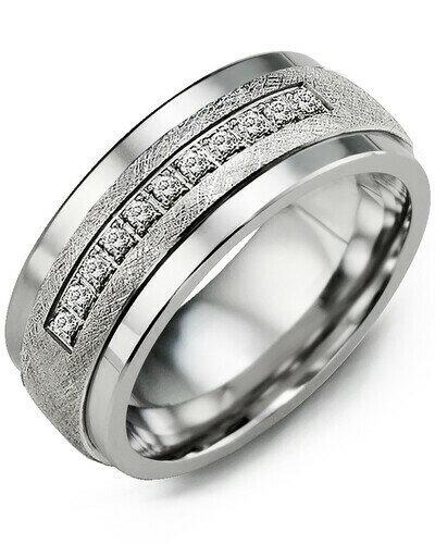 MKF - GLD Men's Brushed Diamond Wedding Band