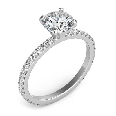 Four Prong Thin Pave Ring