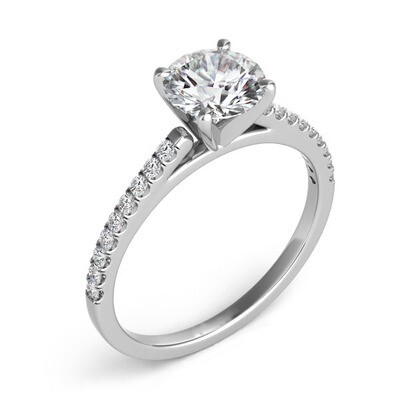 Four Prong Cathedral Pave Ring