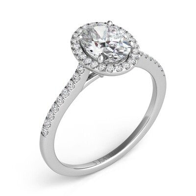Four Prong Cathedral Pave Halo Ring