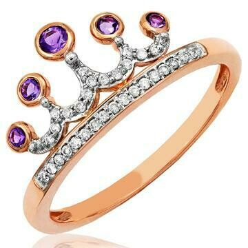 Amethyst Crown Diamond Ring in 14KT Rose Gold