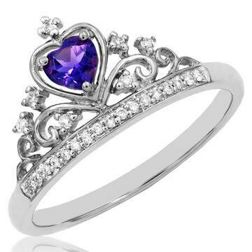 Amethyst Crown Diamond Ring in 14KT White Gold