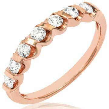 Diamond 0.38CT Band Fancy Bar Set 14KT Rose Gold Ring