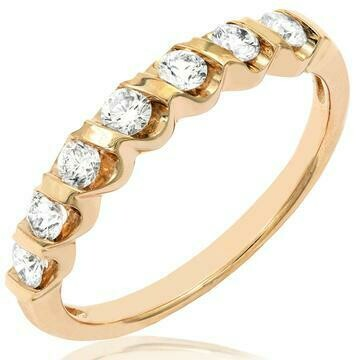 Diamond 0.38CT Band Fancy Bar Set 14KT Yellow Gold Ring