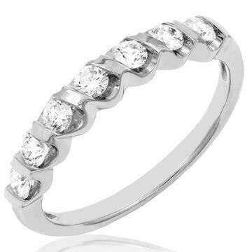 Diamond 0.38CT Band Fancy Bar Set 14KT White Gold Ring