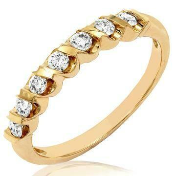 Diamond 0.29CT Band Fancy Bar Set 14KT Yellow Gold Ring