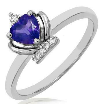 Amethyst Heart Shape Crown Diamond Ring in 14KT White Gold
