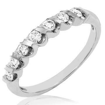 Diamond 0.29CT Band Fancy Bar Set 14KT White Gold Ring