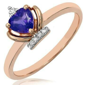 Amethyst Heart Shape Crown Diamond Ring in 14KT Rose Gold