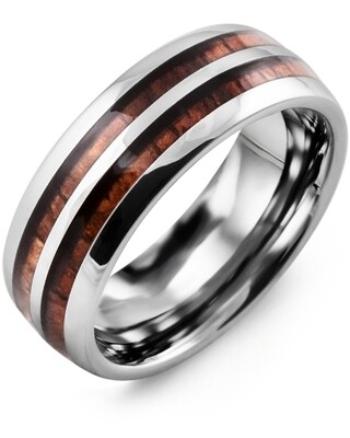 MEA - Men's Double Koa Wood Tungsten Wedding Band