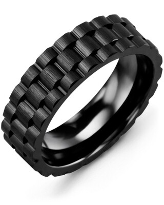 MHZ - Men's Ceramic Eternity Brush Accents Wedding Band