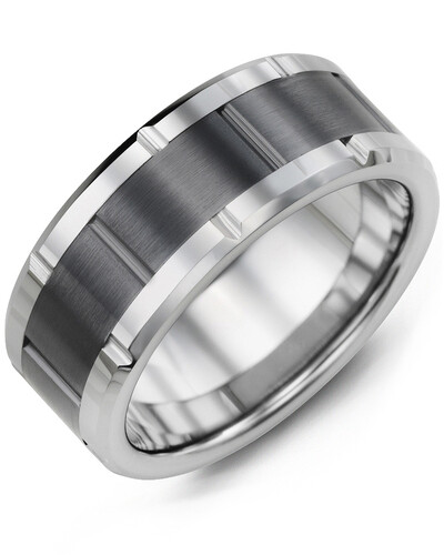 MHA - Men's Grooved Tungsten & Ceramic Wedding Ring