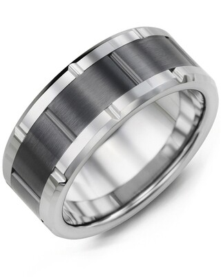 MHA - Men's Grooved Tungsten & Ceramic Wedding Ring