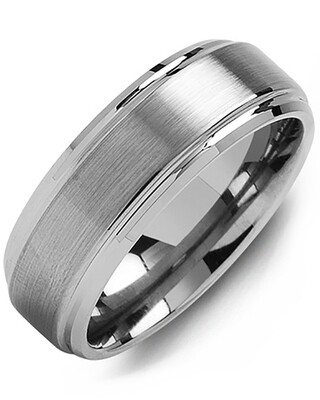 MGA - Men's Brushed Tungsten Polished Edges Wedding Band