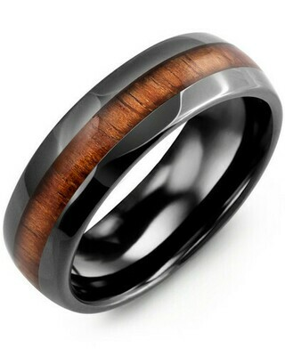 RHB - Men's Polished Dome Koa Wood Black Ceramic Wedding Band