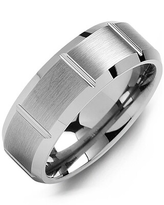 MGC - Men's Beveled Brushed & Grooved Tungsten Wedding Band