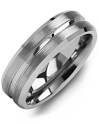 MGE - Men's Brushed Grooved Center Tungsten Wedding Ring