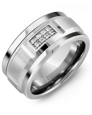 MKS MOD - Men's Wide Beveled Diamond Wedding Ring