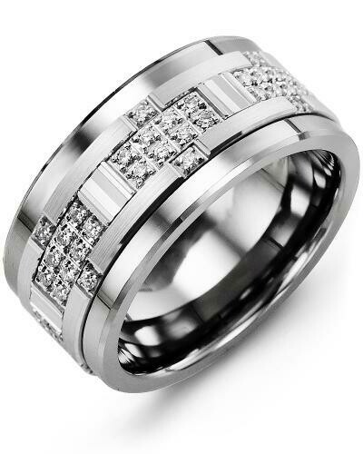 MXB MOD - Men's Wide Accents Diamond Wedding Band
