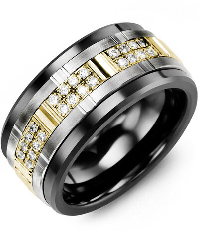 MLO MOD - Men's Multi Wide Grooved Ring with Diamonds