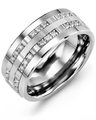 MBV MOD - Men's Outer Trio Diamonds Wedding Band