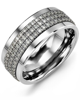 MKK MOD - Men's Three Row Eternity Diamond Wedding Band