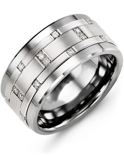 MJN MOD - Men's Scattered Wide Diamond Wedding Ring