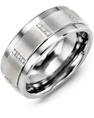 MJG MOD - Men's Vertical Trio Diamond Wedding Ring