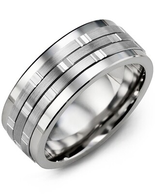 MJL MOD - Men's Vertical Trio Diamond Wedding Ring