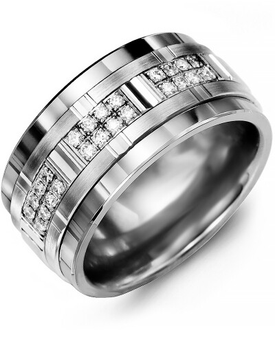 MJM MOD - Men's Wide Grooved Diamond Wedding Ring