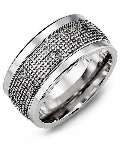 MJX MOD - Men's Carved Pattern Diamond Wedding Band