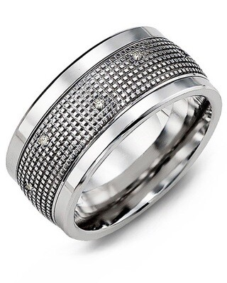 MJX MOD - Men's Carved Pattern Diamond Wedding Band