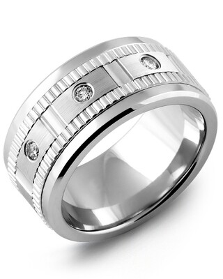 MKW MOD - Men's Carved Pattern Diamond Wedding Band