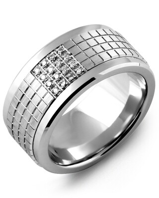 MKX MOD - Men's Carved Pattern Diamond Wedding Band