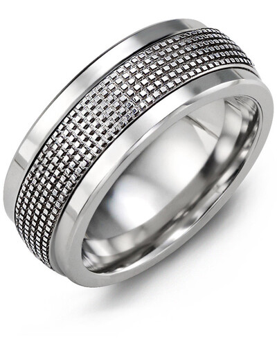 MKG MOD - Men's Infinity Carved and Textured Wedding Ring