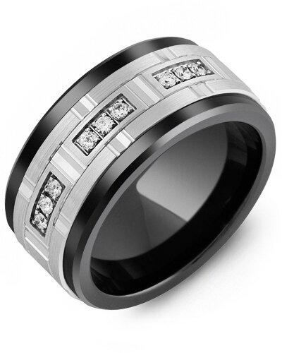 MKV MOD - Men's Large Diamonds Centerpiece Wedding Ring