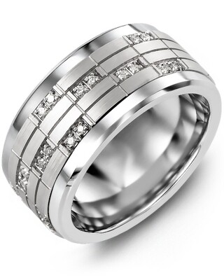 MKZ MOD - Men's Puzzle Pattern Wide Diamond Wedding Band