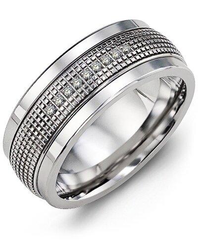 MLC MOD - Men's Infinity Carved Textured Diamond Wedding Ring