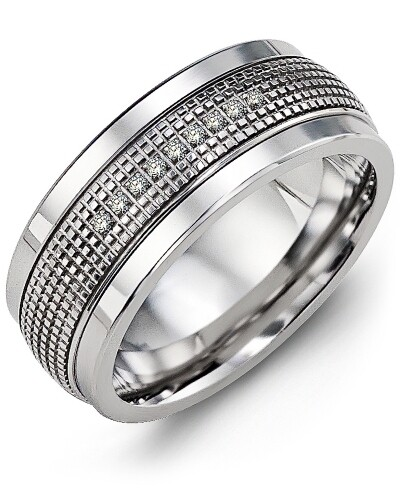MLC MOD - Men's Infinity Carved Textured Diamond Wedding Ring