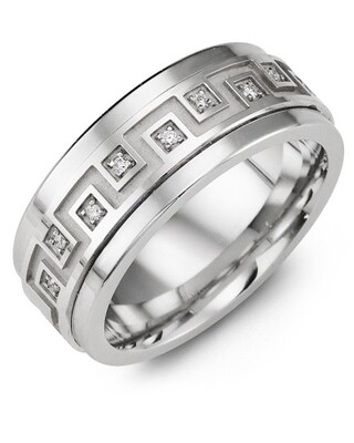 MJI MOD - Men's Geometric Greek Design Wedding Ring