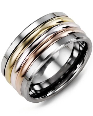 MJH MOD - Men's Tri-Color Wedding Band
