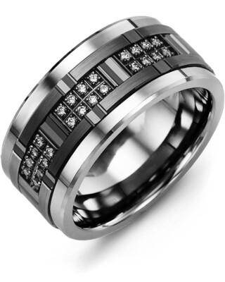 RLU MOD - Men's All Black Wide Grooved Diamond Wedding Ring