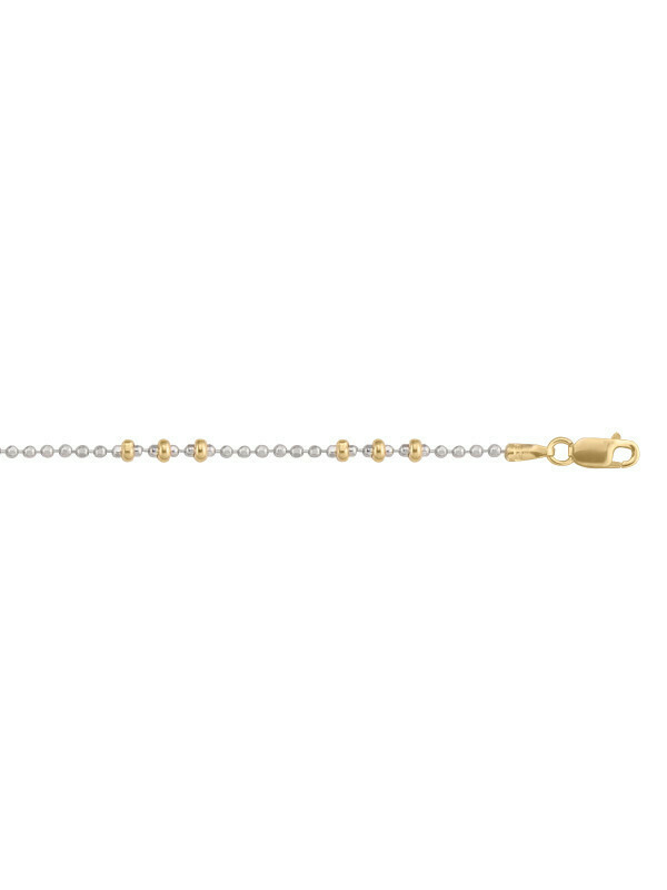White & Yellow Gold Two-tone Station Bead Anklet 14KT